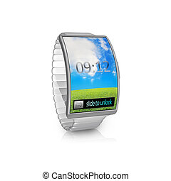 ultra-thin gray bent interface smartwatch with metal...