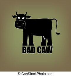 Bad cow - Bad terrible demonic evil cow - illustration