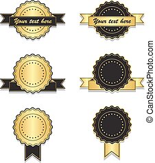 Golden and black vintage badges with ribbon - Golden and...