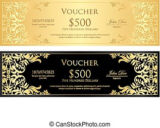 Luxury golden and black voucher with vintage ornament -...