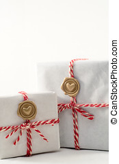 Gift boxes with wax seal - Two homemade gift boxes red white...