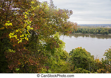 autumn leaves, Mississippi River - fall foliage above the...