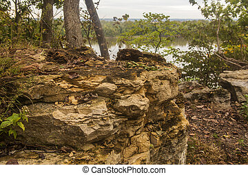 eroded limestone, Mississippi River - eroded limestone on...