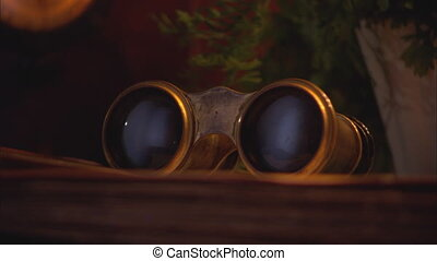 Theater Glasses and an Old Zenith Radio - Close up on old...