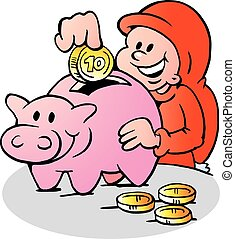Happy Elf with a Piggy Bank - Happy Christmas Elf put money...