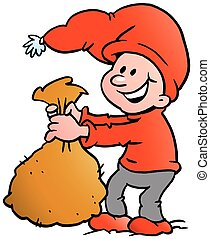 Happy Christmas Elf holding a sack