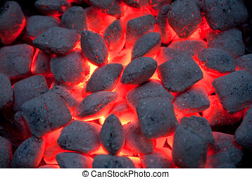 Hot grill charcoal