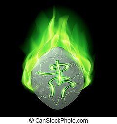 Runic stone - Mysterious rough stone with magic rune burning...