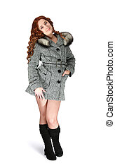 Girl in gray coat on white background - Woman in gray coat...