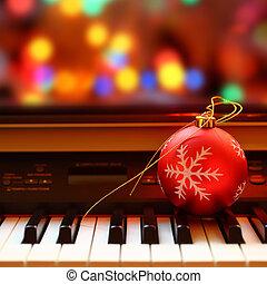 navidad, Pelota, en, piano, llaves,