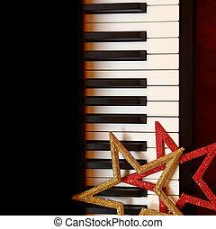 navidad, Ornamentos, en, piano, llaves,