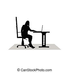 girl work at the computer vector