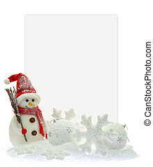 Snowman and Christmas ornaments in front of a paper card