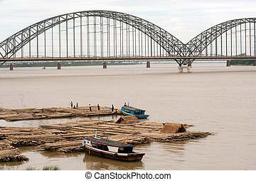 Port activities on Ayeyarwady river,Inwa bridge in...