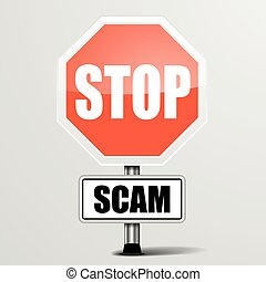 Roadsign Stop Scam - detailed illustration of a red stop...