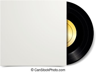 vinyl - detailed illustration of a black vinyl record with...