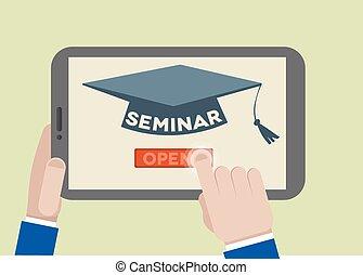 Tablet Seminar - minimalistic illustration of a tablet...