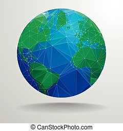 polygon globe - minimalistic illustration of a polygonal...