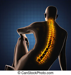 human, radiografia, varredura, com, Glowing, ossos,