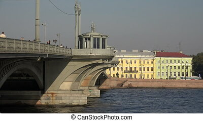 Blagoveshchensky drawbridge Saint-Petersburg Neva The...