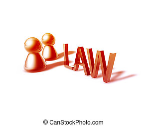 Law word graphic - Law online word graphic, with stylized...