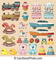 Set of toys. vector - Image of vintage toys - cars, trains,...