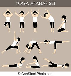 Yoga asanas set. vector - The image is a vector and the...