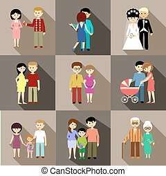 Flat set of family life - parents and children