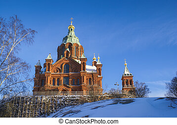 Uspenski Cathedral - Picturesque view of the sunlit Uspenski...