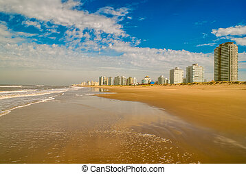 Punta del Este - Panoramic view of a sandy beach in Punta...