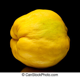 yellow quince fruit isolated on black background