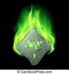 Runic stone - Cracked rhombus stone with magic rune in green...