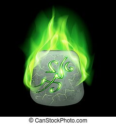 Runic stone - Mysterious quadrangular stone with magic rune...