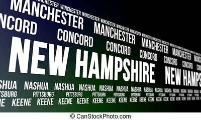New Hampshire State Major Cities - Animated scrolling banner...