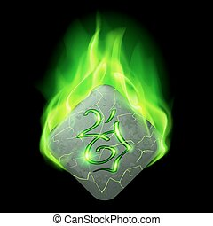 Runic stone - Mysterious diamond-shaped stone with magic...
