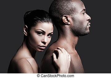 He is absolutely mine Beautiful Caucasian woman bonding to...
