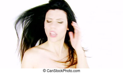 Woman angry about wind in hair - Beautiful woman annoyed and...