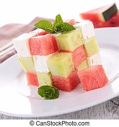 watermelon,cucumber and mozzarella salad