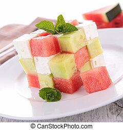 watermelon, cucumber, y, mozzarella, ensalada,