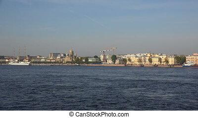 Lieutenant Schmidt Embankment in St. Petersburg. Shot in 4K...