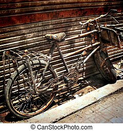 Bicycle for scrapping - Detail of old bicycle ready for...