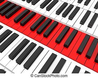 piano keys - three dimensional piano keys on an isolated...