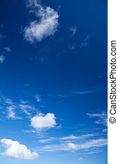 deep blue sky with light clouds background