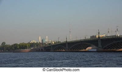 Troitsky drawbridge. Saint-Petersburg. White nights. Neva....