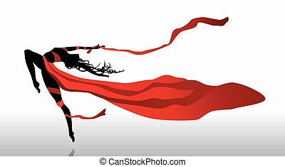 Dancer - Beautiful girl dancing in red dress with ribbons on...