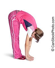 girl in pink activewear doing fitness exercises - Sporty...