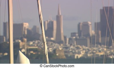 Trans Pyramid Alcatraz Thru Sail Lines mov - CU of sailboat...
