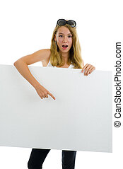 teenager girl with white board - blond teeny girl point to...