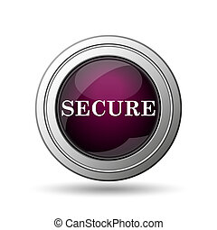 Secure icon Internet button on white background