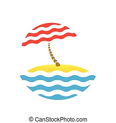 beach umbrella and sea, tourism logo - beach umbrella and...
